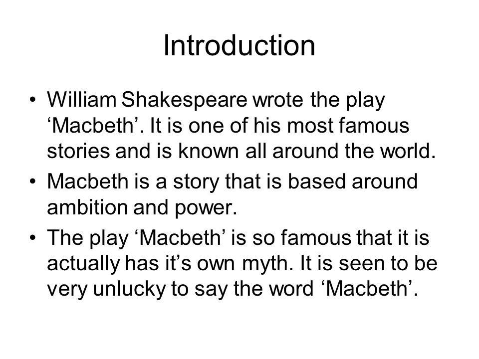 Introduction for macbeth essay