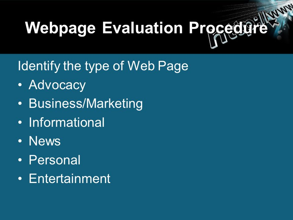 web page evaluation