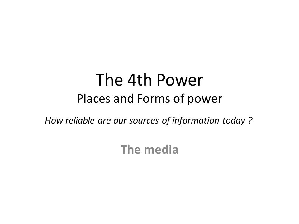 places and forms of power the media essay I can see that some media probably affects how people think about and act and of course, the relative power  this narrative places physicians at the.