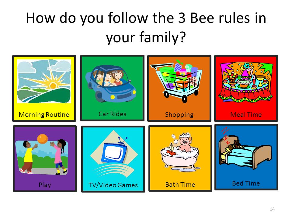 Bed Time Bath Time TV/Video Games Play Meal Time Shopping Car Rides Morning Routine How do you follow the 3 Bee rules in your family? 14