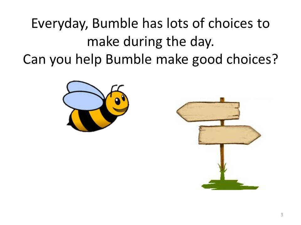 Everyday, Bumble has lots of choices to make during the day. Can you help Bumble make good choices? 3