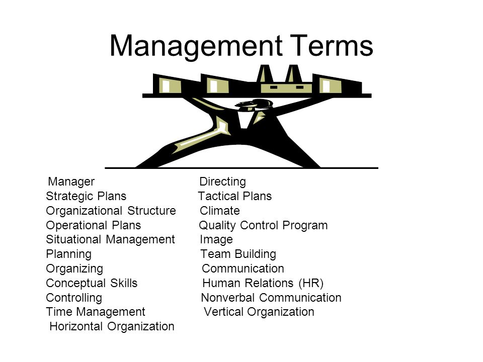 Management Terms Manager Directing Strategic Plans Tactical Plans Organizational Structure Climate Operational Plans Quality Control Program Situational Management Image Planning Team Building Organizing Communication Conceptual Skills Human Relations (HR) Controlling Nonverbal Communication Time Management Vertical Organization Horizontal Organization