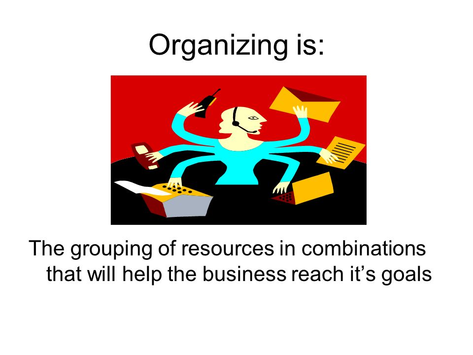 Organizing is: The grouping of resources in combinations that will help the business reach it's goals
