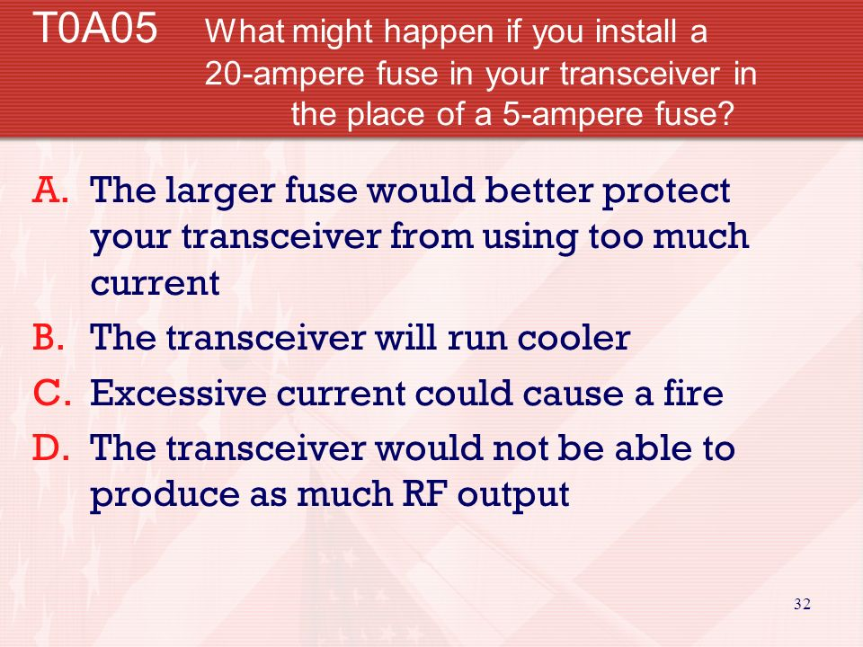 31 T0A04 What is the purpose of a fuse in an electrical circuit.