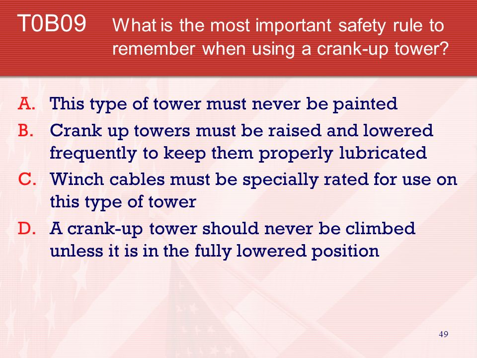 48 T0B08 What is a safe distance from a power line to allow when installing an antenna.