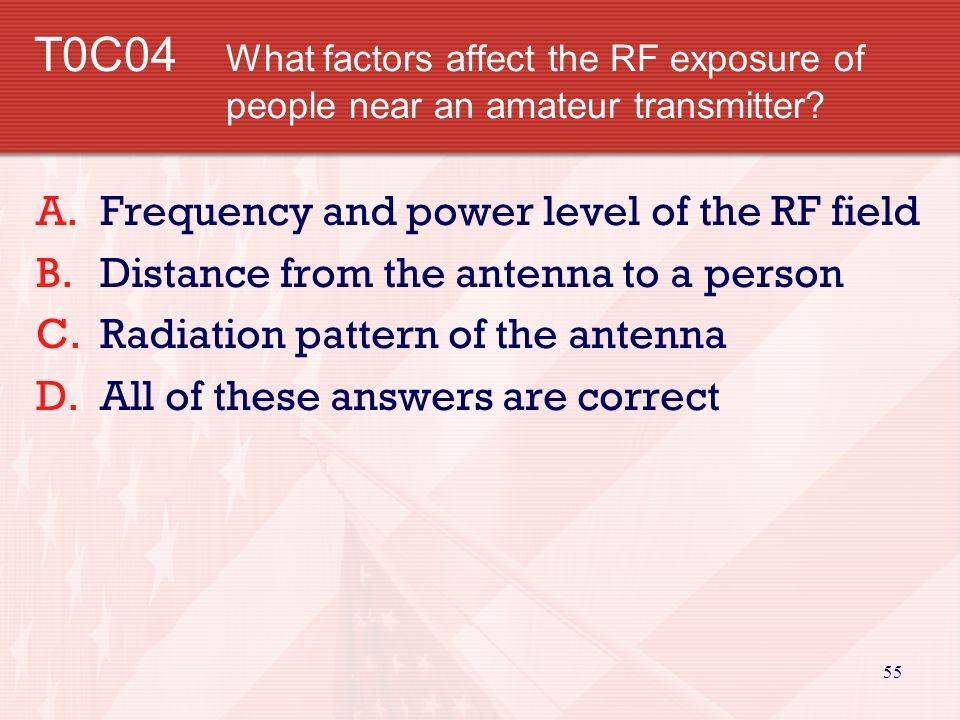 54 T0C03 What is the maximum power level that an amateur radio station may use at frequencies above 30 MHz before an RF exposure evaluation is required.