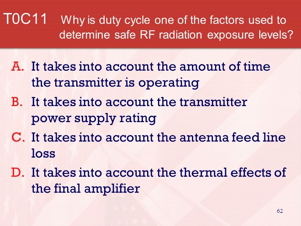 61 T0C10 Which of the following units of measurement is used to measure RF radiation exposure.
