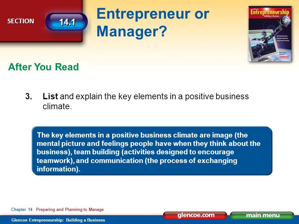 Glencoe Entrepreneurship: Building a Business Entrepreneur or Manager.