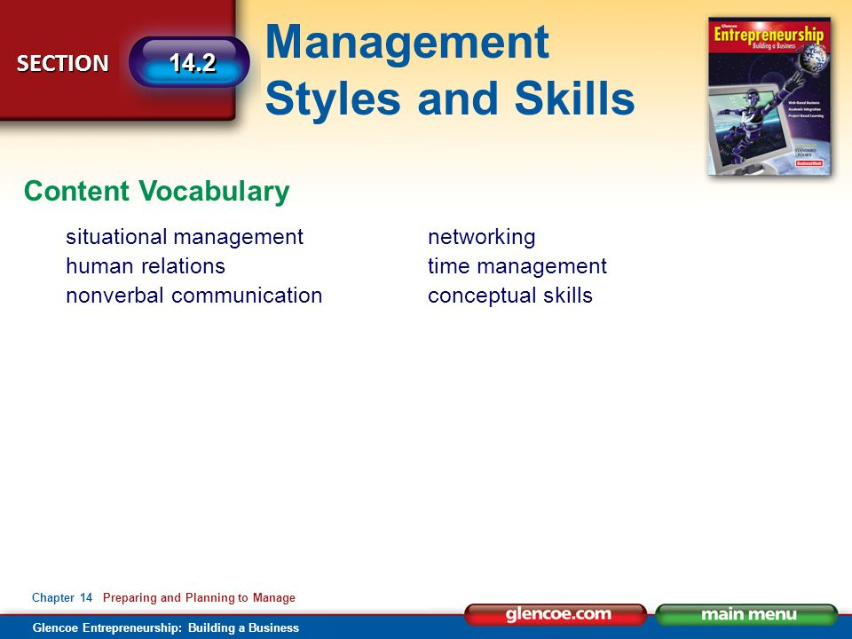 Management Styles and Skills Glencoe Entrepreneurship: Building a Business SECTION Chapter 14 Preparing and Planning to Manage 14.2 Content Vocabulary situational management human relations nonverbal communication networking time management conceptual skills