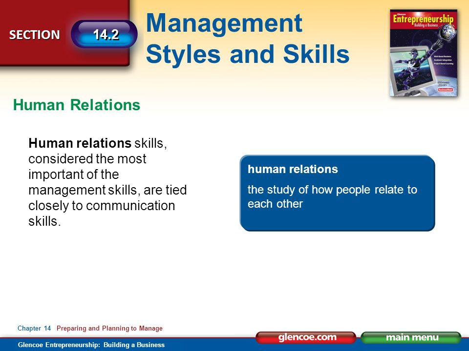 Management Styles and Skills Glencoe Entrepreneurship: Building a Business SECTION Chapter 14 Preparing and Planning to Manage 14.2 Human relations skills, considered the most important of the management skills, are tied closely to communication skills.