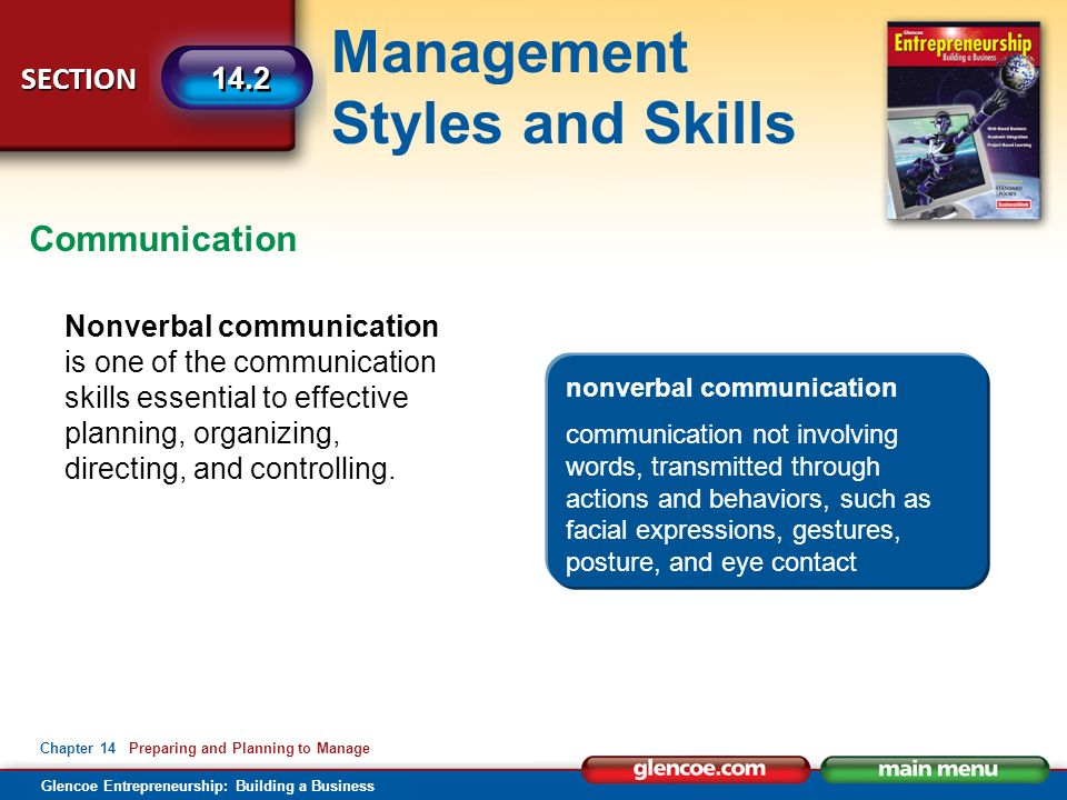 Management Styles and Skills Glencoe Entrepreneurship: Building a Business SECTION Chapter 14 Preparing and Planning to Manage 14.2 Nonverbal communication is one of the communication skills essential to effective planning, organizing, directing, and controlling.