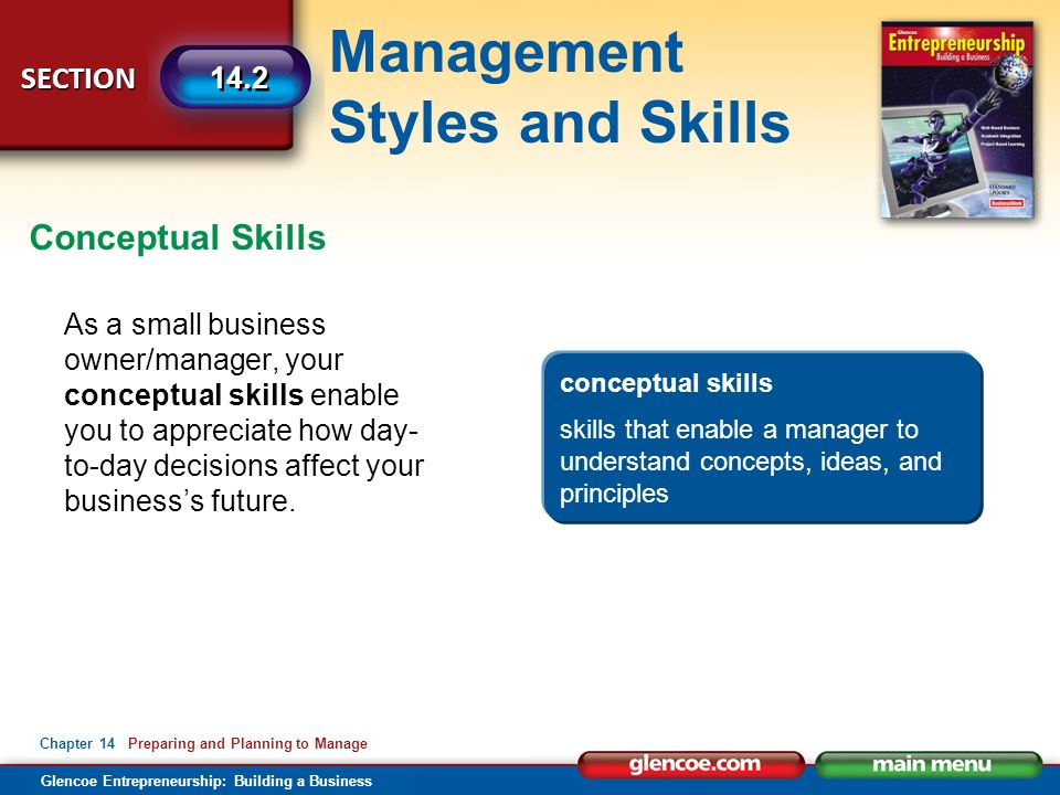 Management Styles and Skills Glencoe Entrepreneurship: Building a Business SECTION Chapter 14 Preparing and Planning to Manage 14.2 As a small business owner/manager, your conceptual skills enable you to appreciate how day- to-day decisions affect your business's future.