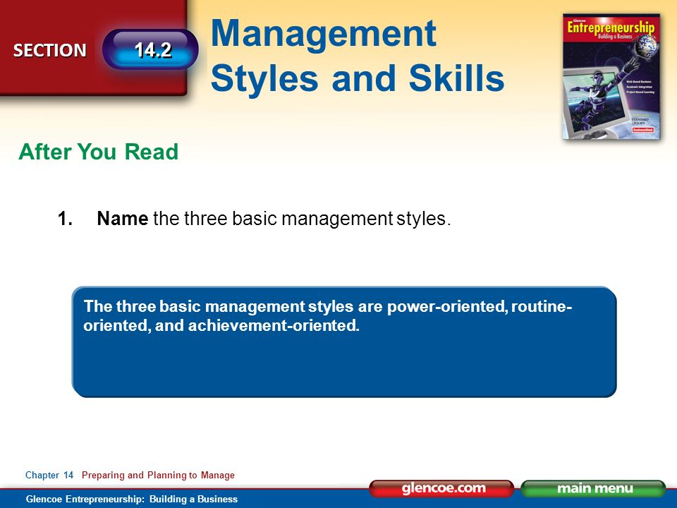 Management Styles and Skills Glencoe Entrepreneurship: Building a Business SECTION Chapter 14 Preparing and Planning to Manage 14.2 After You Read 1.Name the three basic management styles.