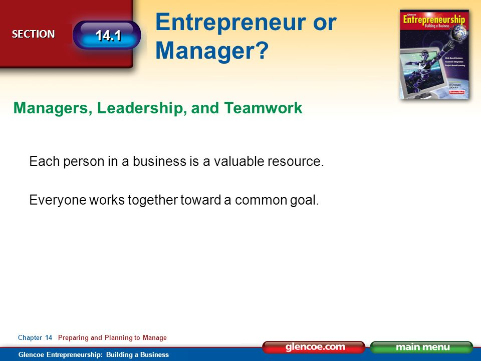 Glencoe Entrepreneurship: Building a Business Entrepreneur or Manager? SECTION SECTION 14.1 Chapter 14 Preparing and Planning to Manage Each person in