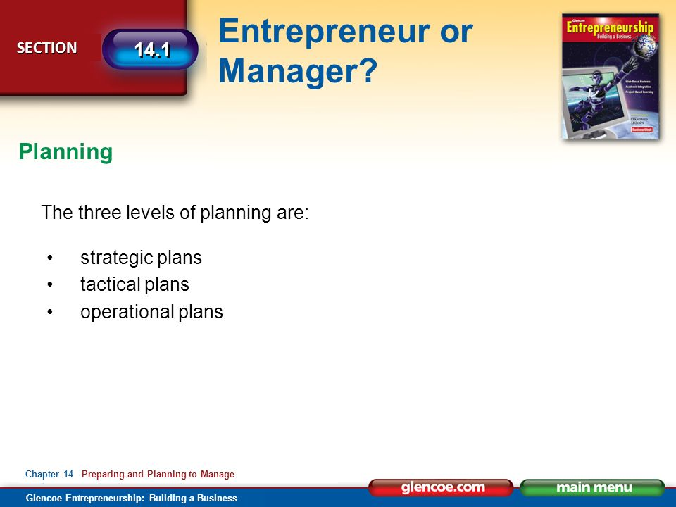 Glencoe Entrepreneurship: Building a Business Entrepreneur or Manager.