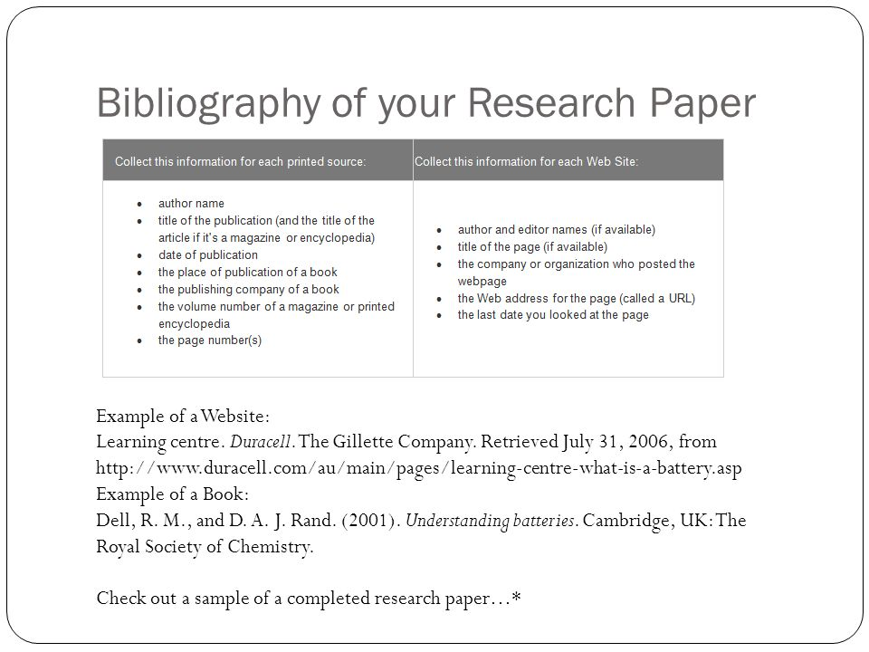 Research example paper