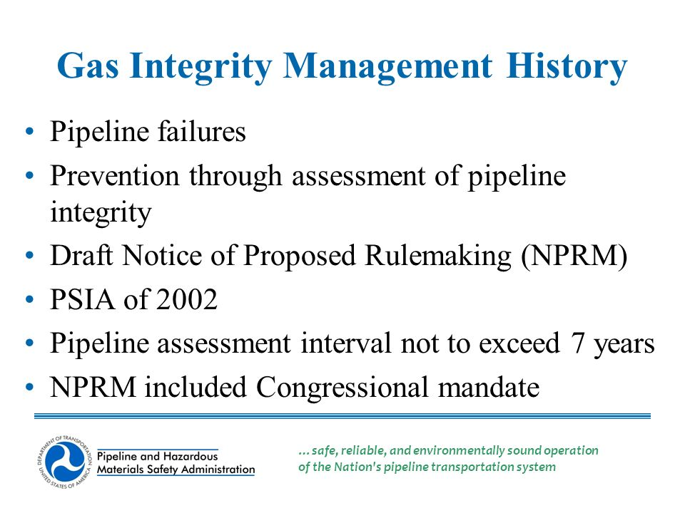 High Consequence Areas Pipeline Assessment Intervals Pipeline