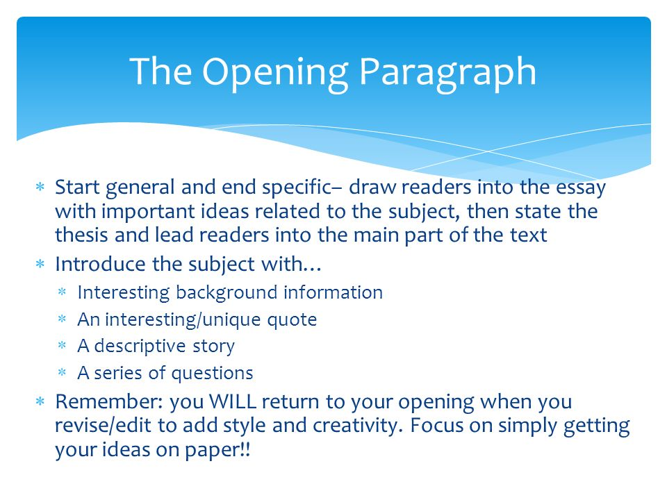 paragraph openings for essays Teach students to write outstanding introduction and conclusion paragraphs for persuasive/argument and informative/explanatory/expository essays before you buy: these lessons come from two larger units.