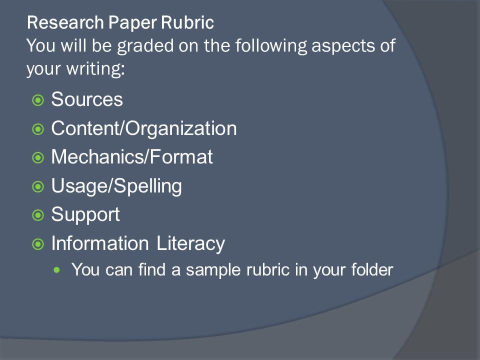 research paper grade rubric