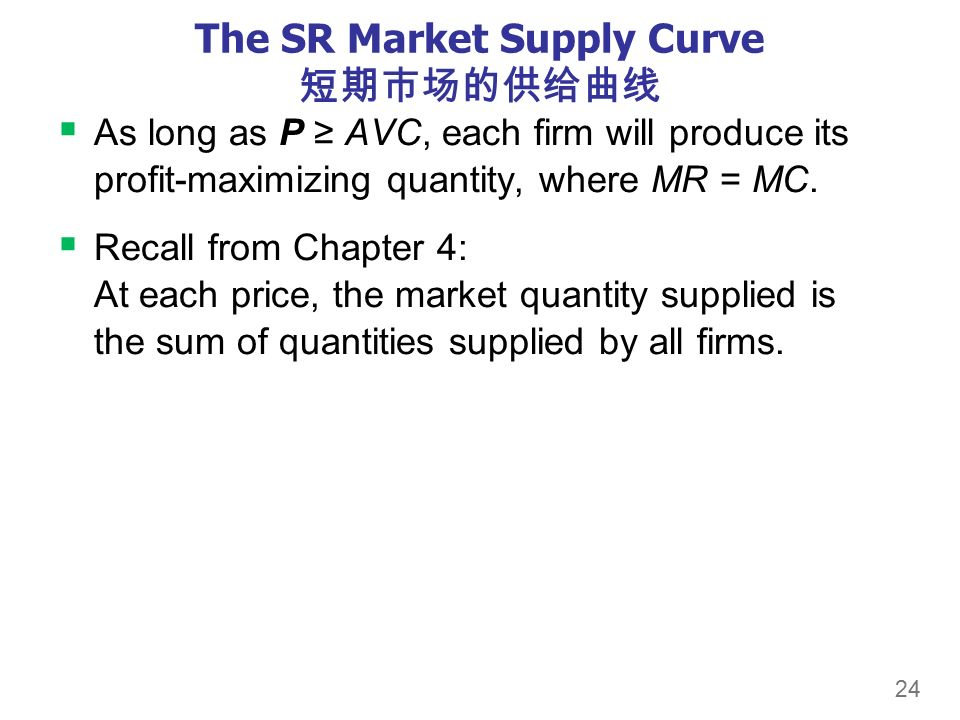 24 The SR Market Supply Curve 短期市场的供给曲线  As long as P ≥ AVC, each firm will produce its profit-maximizing quantity, where MR = MC.