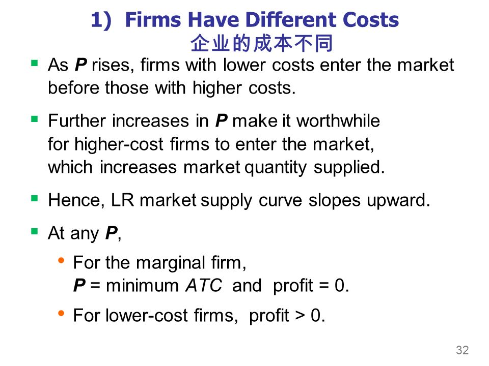 32 1)Firms Have Different Costs 企业的成本不同  As P rises, firms with lower costs enter the market before those with higher costs.