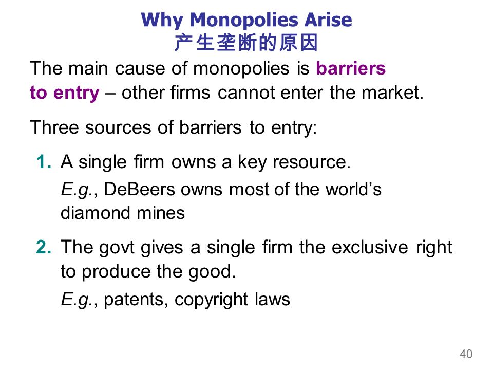40 Why Monopolies Arise 产生垄断的原因 The main cause of monopolies is barriers to entry – other firms cannot enter the market.