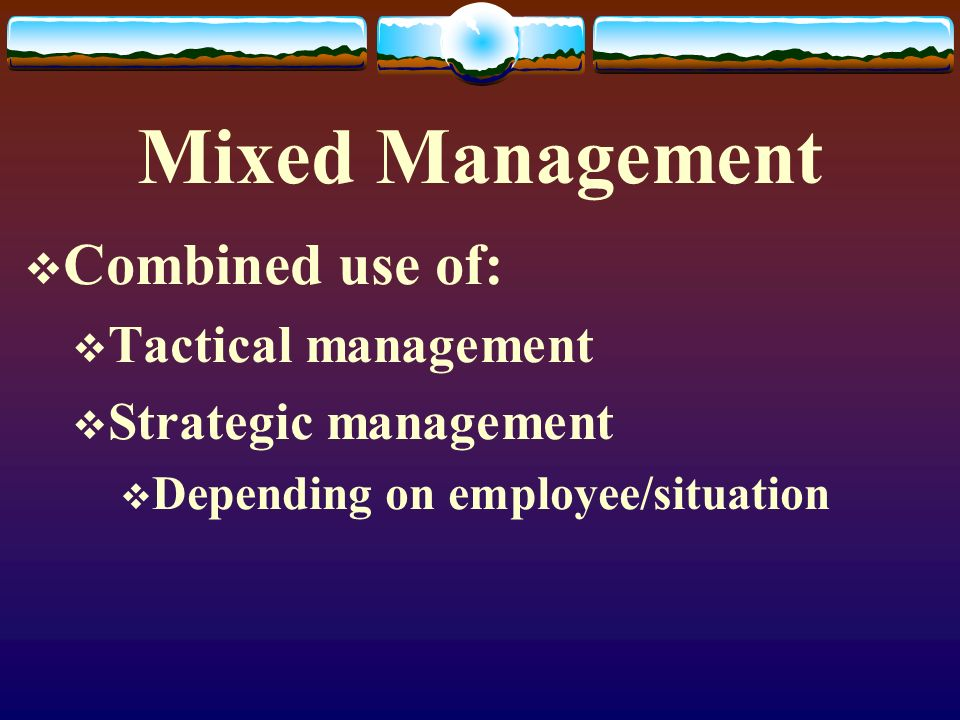 Mixed Management  Combined use of:  Tactical management  Strategic management  Depending on employee/situation