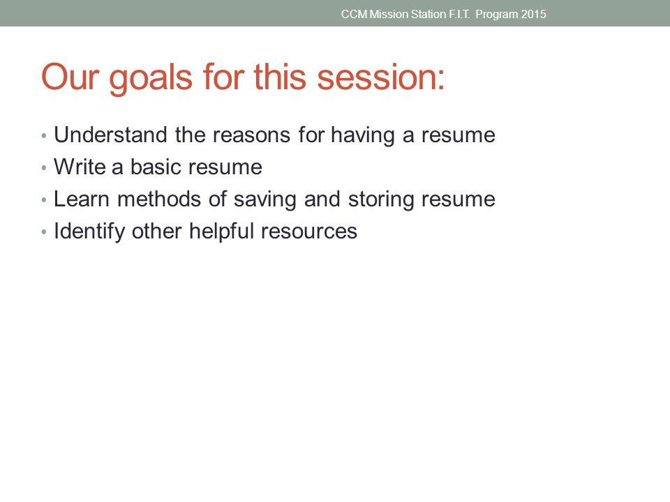 resume writing 101 ccm mission station f i t program ppt download