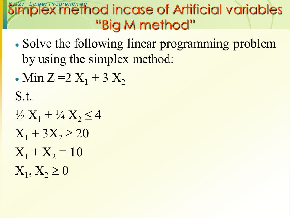 Solving linear programming problems using simplex method