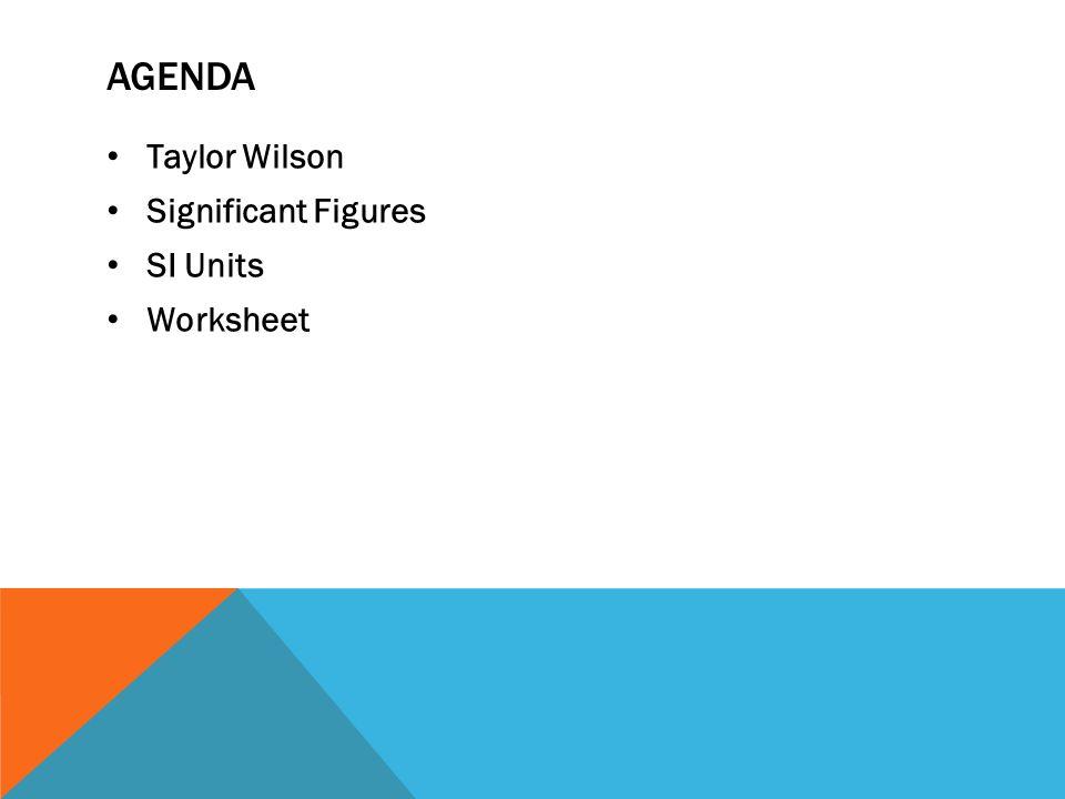 SEPTEMBER 6 2012 CHEMISTRY 20 A JOKE AGENDA Taylor Wilson – Worksheet Significant Figures