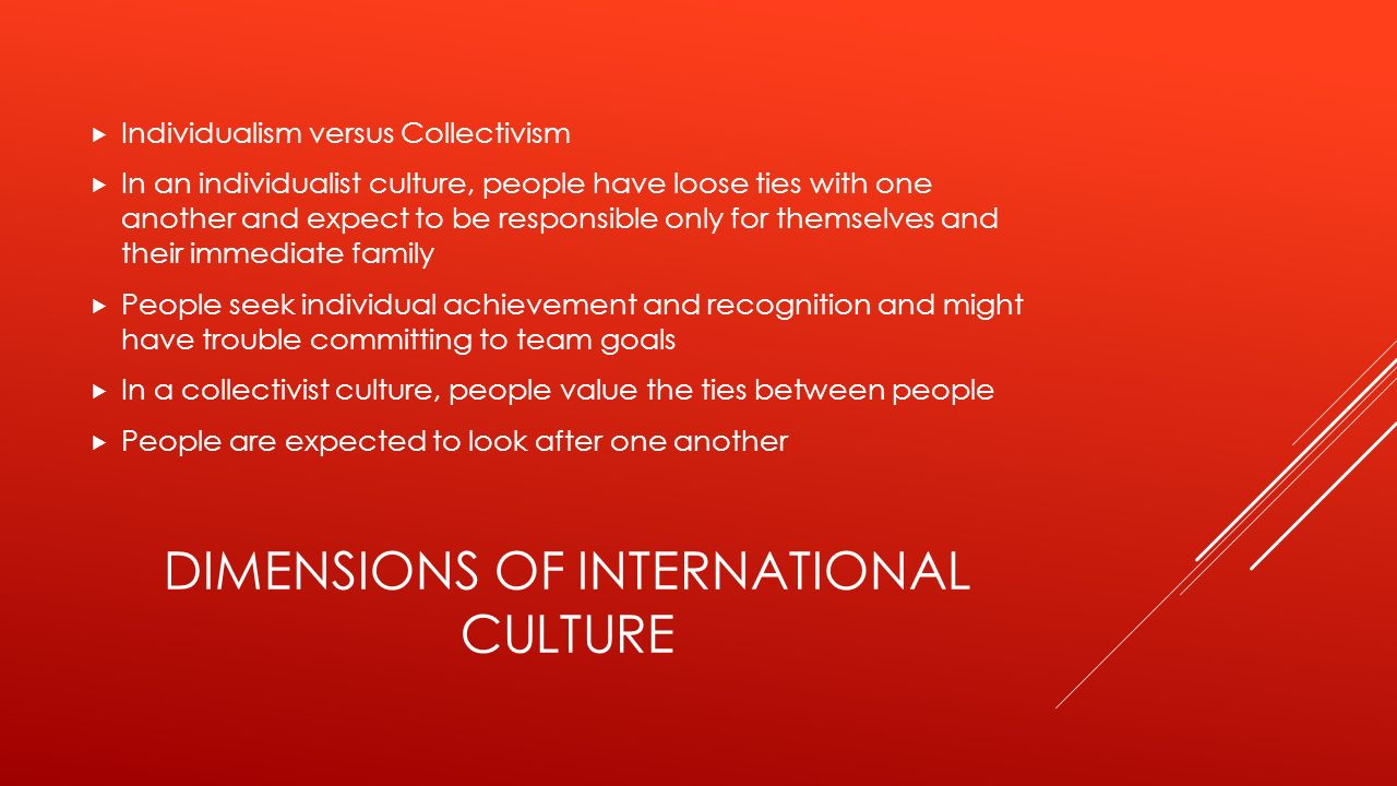DIMENSIONS OF INTERNATIONAL CULTURE  Individualism versus Collectivism  In an individualist culture, people have loose ties with one another and exp