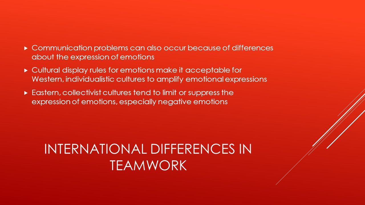 INTERNATIONAL DIFFERENCES IN TEAMWORK  Communication problems can also occur because of differences about the expression of emotions  Cultural display rules for emotions make it acceptable for Western, individualistic cultures to amplify emotional expressions  Eastern, collectivist cultures tend to limit or suppress the expression of emotions, especially negative emotions