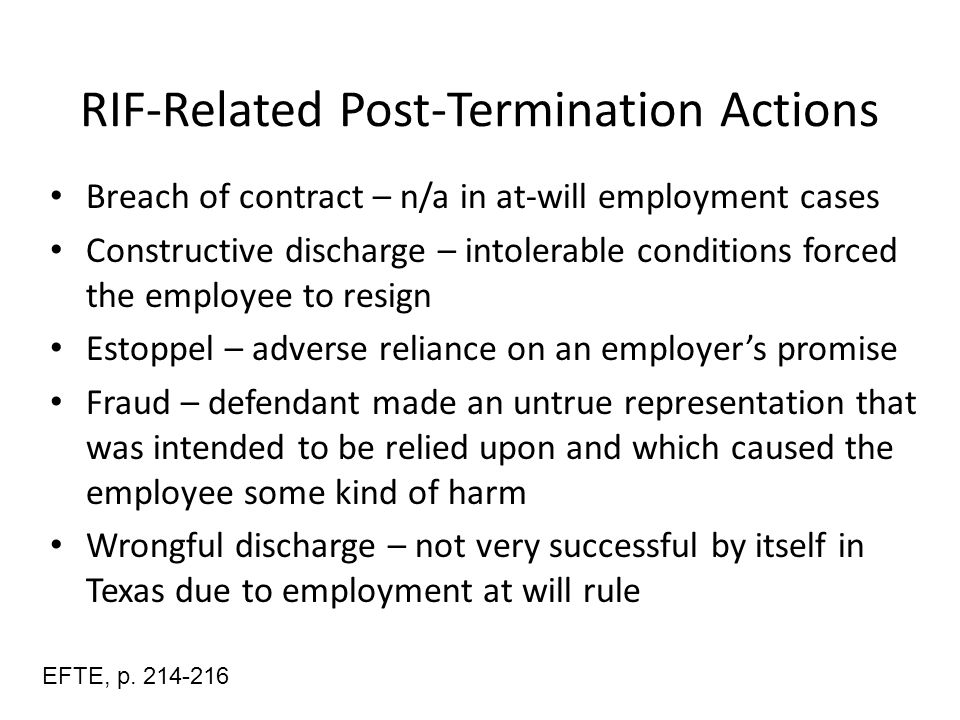 employees claim of constructive discharge Real life constructive discharge scenarios there are a few situations, in which the court will most likely rule, that constructive termination occurred here are some examples of constructive discharge situations, where the claim would be justifiable: an employee is subjected to a hostile environment, after making a whistleblower complaint.
