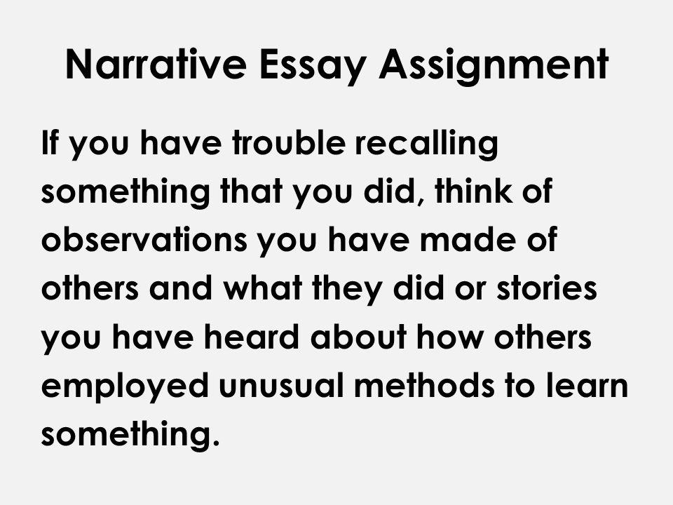 Assignment essay example narrative