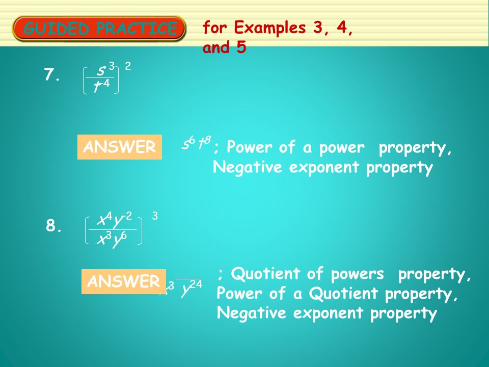 GUIDED PRACTICE for Examples 3, 4, and 5 7.