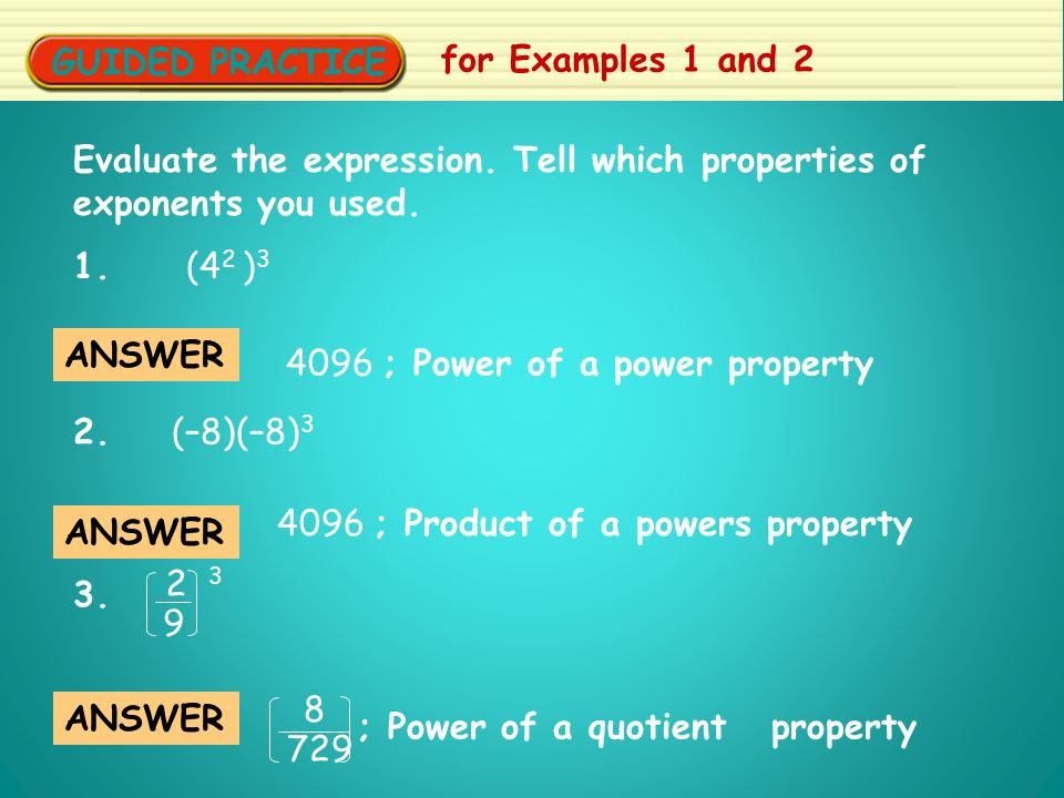 GUIDED PRACTICE for Examples 1 and 2 Evaluate the expression.