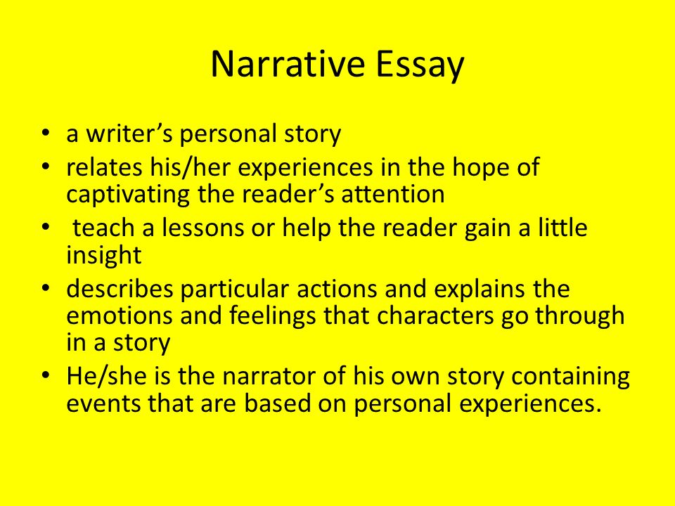 writing good narrative essay To write a narrative essay, you'll need to tell a story (usually about something that happened to you) in such a way that he audience learns a lesson or gains insight to write a descriptive essay, you'll need to describe a person, object, or event so vividly that the reader feels like he/she could reach out and touch it tips for writing effective.