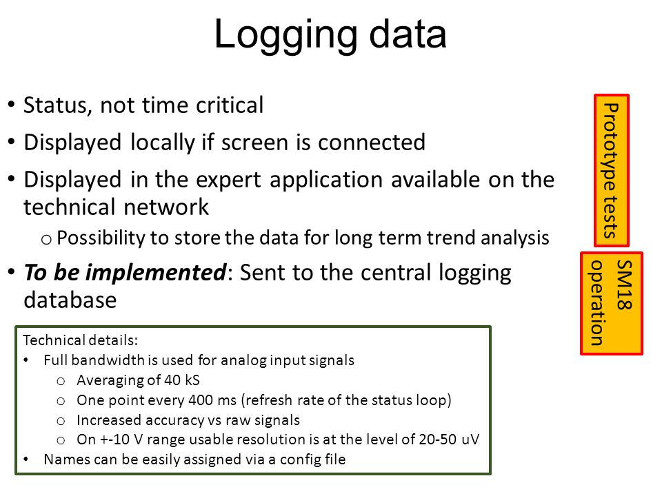 Logging data Status, not time critical Displayed locally if screen is connected Displayed in the expert application available on the technical network o Possibility to store the data for long term trend analysis To be implemented: Sent to the central logging database SM18 operation Prototype tests Technical details: Full bandwidth is used for analog input signals o Averaging of 40 kS o One point every 400 ms (refresh rate of the status loop) o Increased accuracy vs raw signals o On +-10 V range usable resolution is at the level of uV Names can be easily assigned via a config file