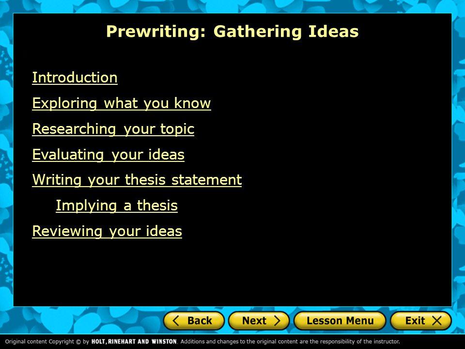 narrative essay prewriting exercises