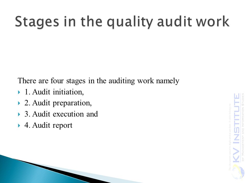 There are four stages in the auditing work namely  1.
