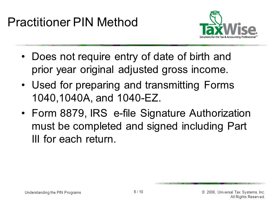 1 10 Understanding The Pin Programs 2006 Universal Tax Systems
