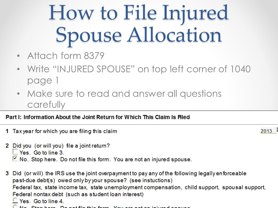 Injured Spouse Form Injured Spouse Allocation  This Form Is Used