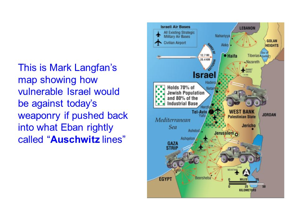 This is Mark Langfan's map showing how vulnerable Israel would be against today's weaponry if pushed back into what Eban rightly called Auschwitz lines
