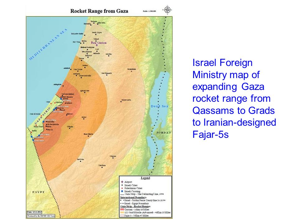 Israel Foreign Ministry map of expanding Gaza rocket range from Qassams to Grads to Iranian-designed Fajar-5s