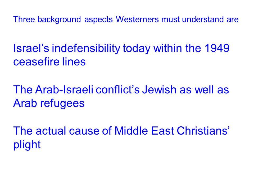Three background aspects Westerners must understand are Israel's indefensibility today within the 1949 ceasefire lines The Arab-Israeli conflict's Jewish as well as Arab refugees The actual cause of Middle East Christians' plight