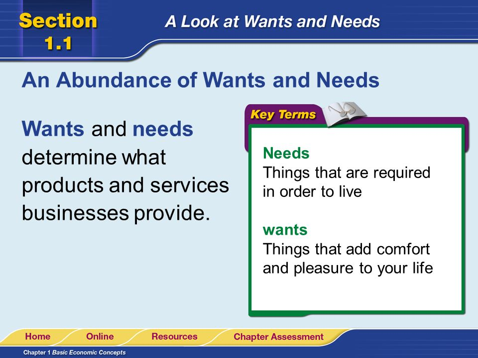 difference between needs and wants Spring 2001 check it out 2 key issues this programme explores the differences between needs and wants it encourages pupils to think about basic human needs and the extent to which such needs are met in today's world.