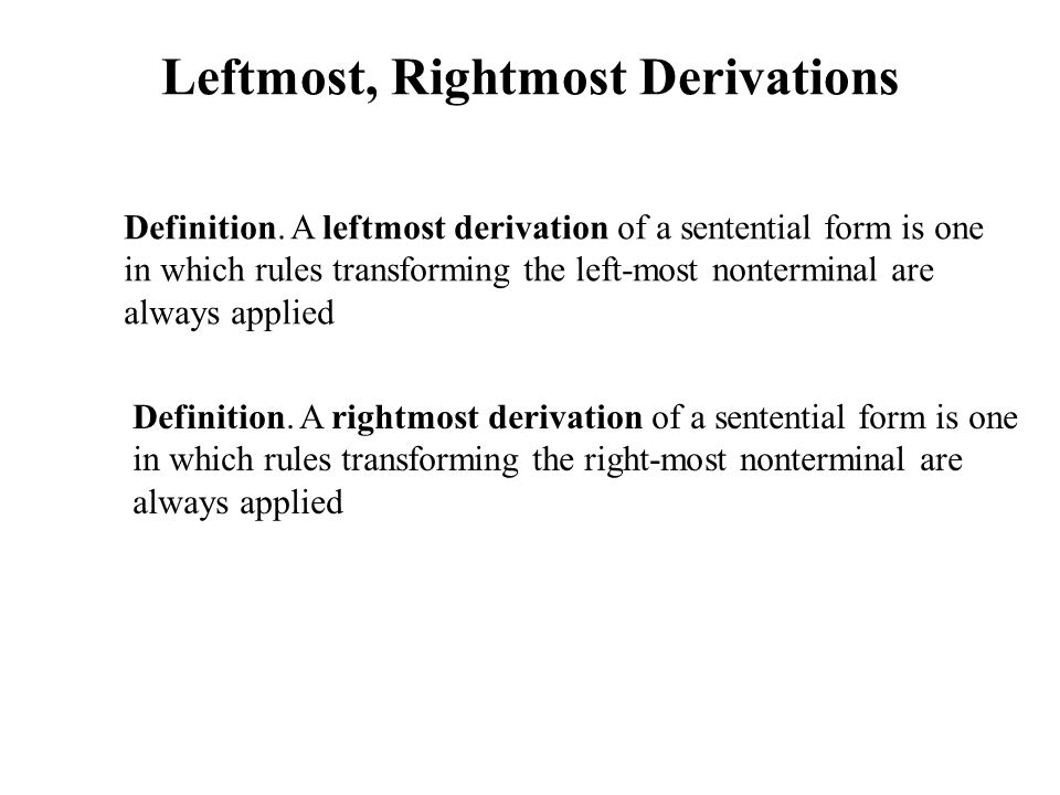 Leftmost, Rightmost Derivations Definition.