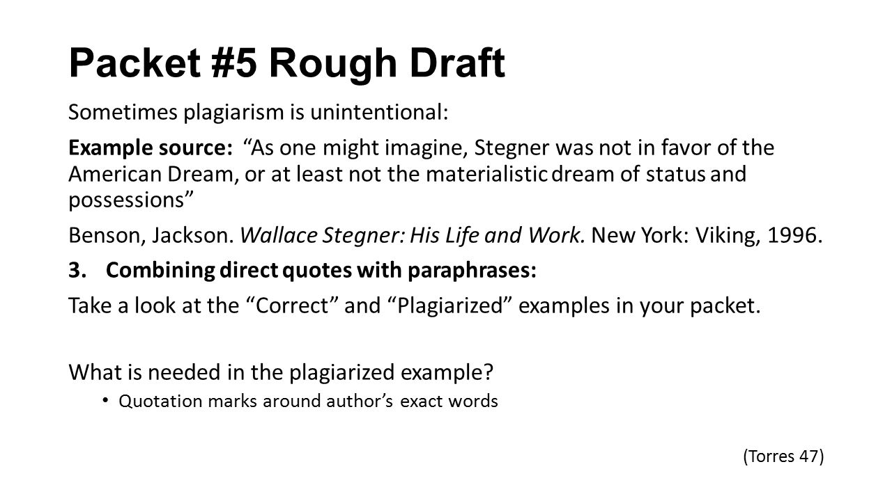 Packet 5 Rough Draft Packet 5 Rough Draft Avoiding Plagiarism pg