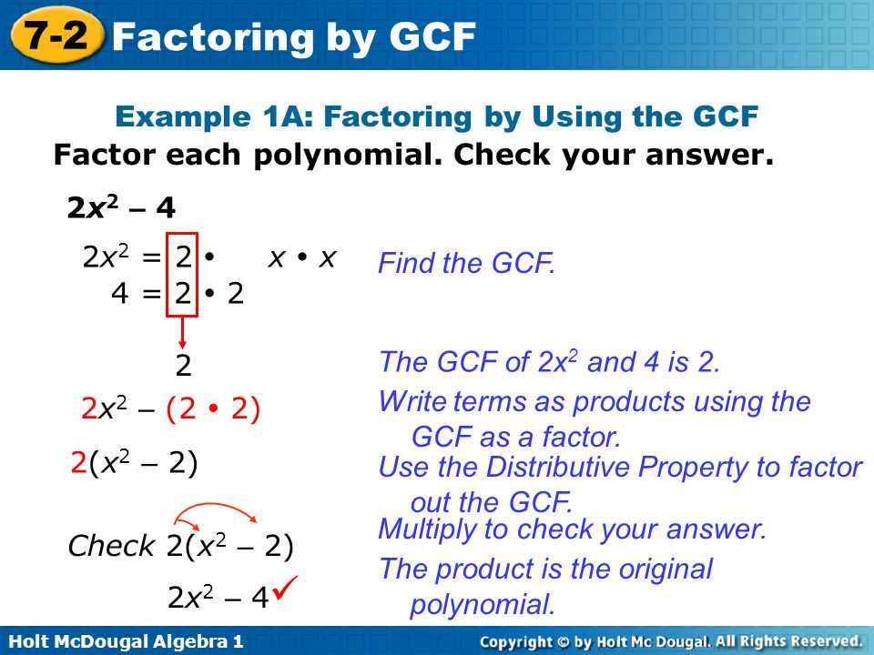 Holt McDougal Algebra Factoring by GCF Factor polynomials by using – Factoring by Gcf Worksheet