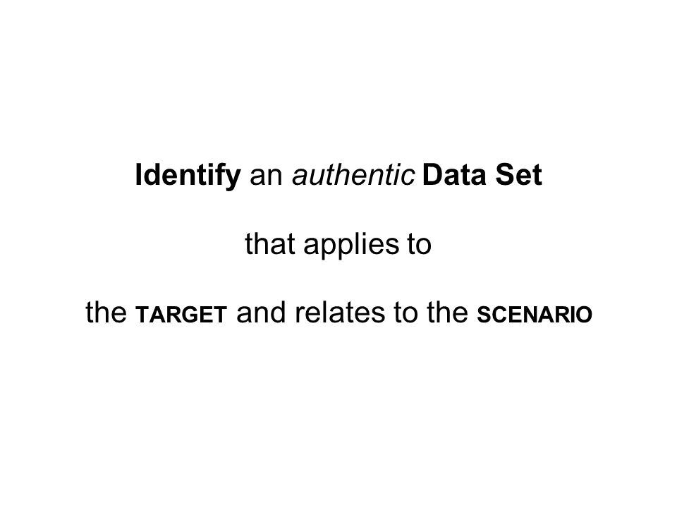 Identify an authentic Data Set that applies to the TARGET and relates to the SCENARIO
